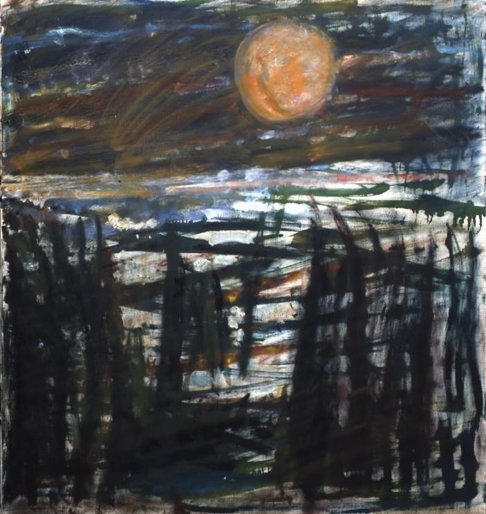 'Winter Landscape with Sun' de Fritz Ascher's,1960, huile sur toile (Crédit : Collection privée)