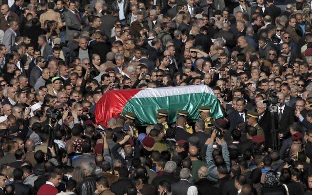 Enterrement de Ziad Abou Eïn à Ramallah - 11 décembre 2014 AFP PHOTO / AHMAD GHARABLI
