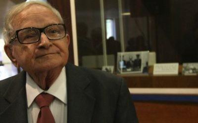Rafi Eitan, ancien responsable du Mossad et du Shin Bet. (Crédit : Kobi Gideon/Flash90)