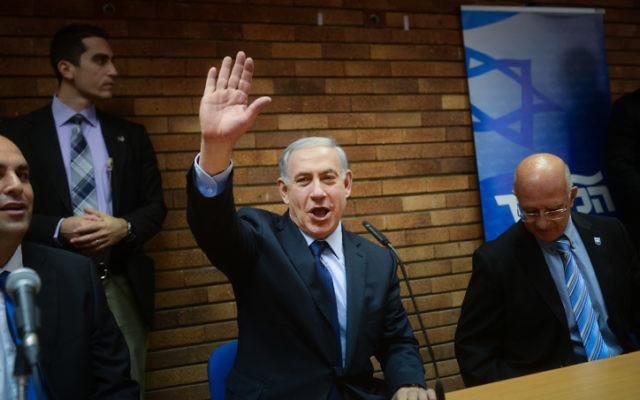 Benjamin Netanyahu lors d'une conférence de presse à Tel Aviv le 11 décembre 2014 (Credit : Ben Kelmer/Flash90)