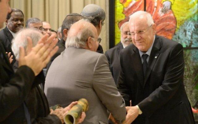 Le président Reuven Rivlin parle à une cérémonie marquant l'expulsion des Juifs des pays arabes - 30 novembre 2014. (Crédit : autorisation)