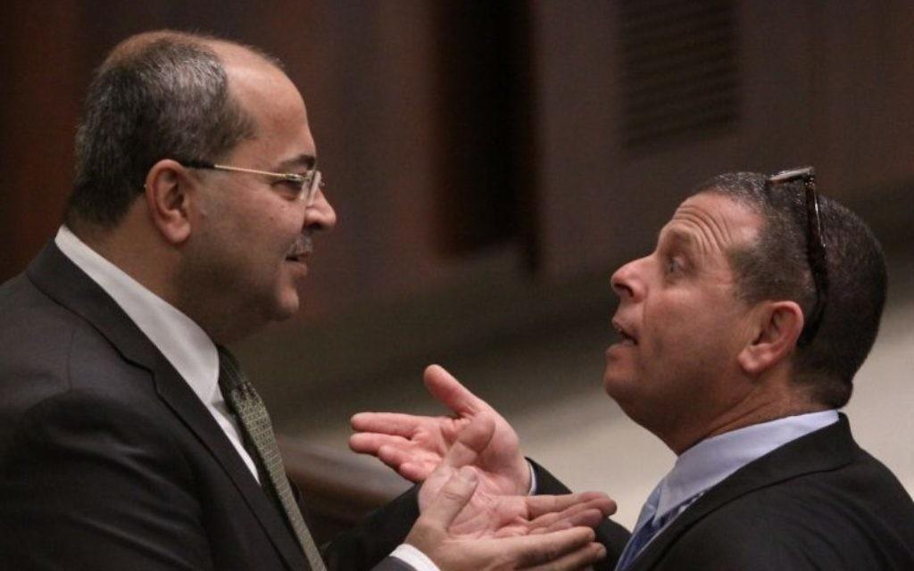Les députés Ahmed Tibi (Raam-Taal) et Eitan Cabel (parti travailliste) à la Knesset (Crédit : autorisation)
