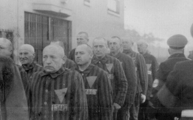 Les prisonniers de Sachsenhausen en 1938 (Crédit : Heinrich Hoffman Collection/Wikipedia)