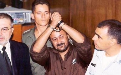 Marwan Barghouthi au tribunal en 2002 (Crédit : Flash90)