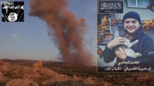 Une capture d'écran, d'une vidéo postée par le Front al-Nosra sur le site LiveLeak le 30 mai 2014, qui montrerait un citoyen américain, Moner Mohammed Abu Salha, qui aurait participé à un attentat-suicide contre les forces du régime dans la province d'Idlib dans le nord de la Syrie le 25 mai 2014 (Crédit : Capture d'écran LiveLeak/AFP)