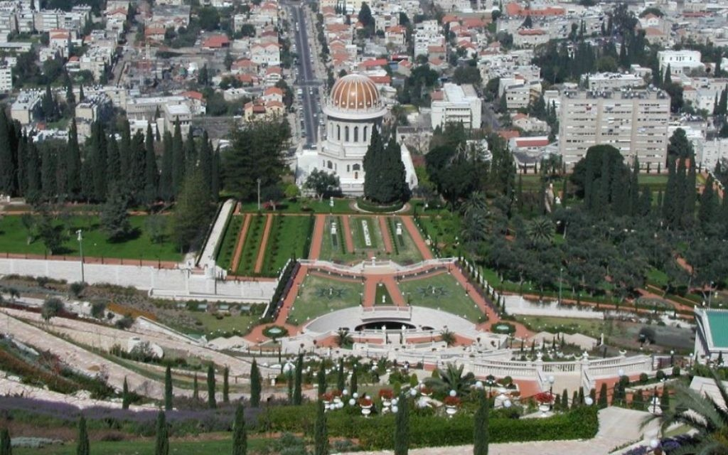 Les jardins de Bahaï, à Haïfa.  (Crédit : Shmuel Bar-Am)