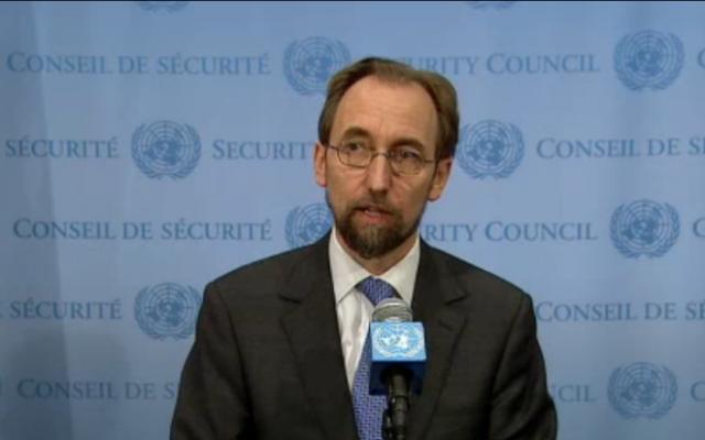 Zeid Raad al-Hussein, haut commissaire pour les droits de l'Homme aux Nations unies. (Crédit : capture d'écran YouTube)