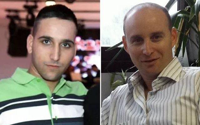 Sgt. Adar Barsano, 20 ans, de Nahariya (gauche) et Maj. (Res.) Amotz Greenberg, 45 ans, de Hod Hasharon, tués dans une infiltration du Hamas le 19 juillet 2014 (Crédit : Courtesy)