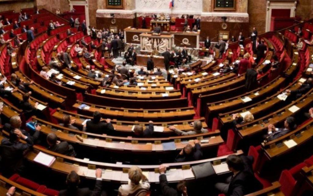Hémicycle de l'Assemblée nationale française (Crédit : CC-BY-SA Richard Ying, Tangui Morlier/Wikimedia Commons)