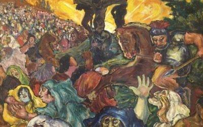 la 'Crucifiction' de Fritz Ascher qui date de 1918, peinture à l'huile sur toile (Crédit : Collection privée)