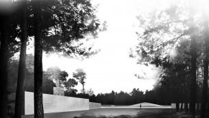 """Le mur commémoratif proposé à Sobibor fera le tour de la zone de charniers, dont le mémorial de la """"montagne de cendres"""" (Autorisation : Fondation réconciliation germano-polonaise)"""