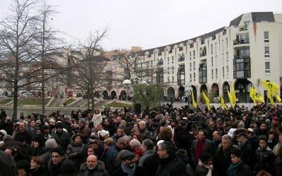 Rassemblement contre l'antisémitisme à Créteil, le 7 décembre 2014. (Crédit : Henri Bettan/Times of Israël)