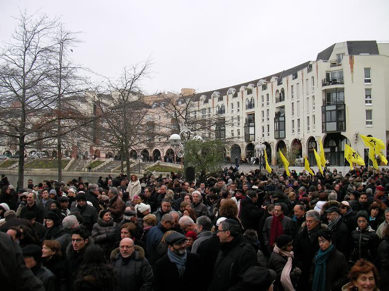 Rassemblement contre l'antisémitisme à Créteil - 7 décembre 2014 (Crédit : Henri Bettan/Times of Israel Staff)