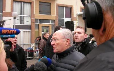 Le président du Crif Roger Cukierman à Créteil - 7 décembre 2014 (Crédit : Henri Bettan/Times of Israel)