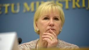 Margot Wallström, la ministre suédoise des Affaires étrangères à Riga le 23 janvier 2015 (Crédit : AFP PHOTO / ILMARS ZNOTINS)