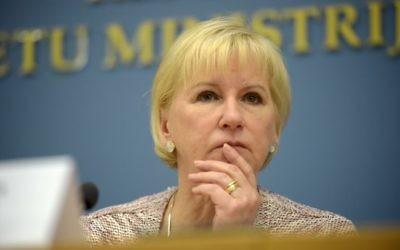 Margot Wallström, la ministre suédoise des Affaires étrangères à Riga le 23 janvier 2015 (Crédit : AFP / ILMARS ZNOTINS)