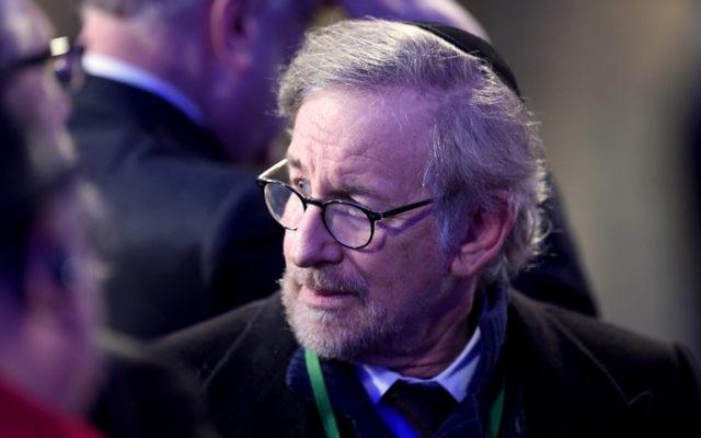 Steven Spielberg aux 70 ans de la libération du camp d'Auschwitz (Crédit : AFP)