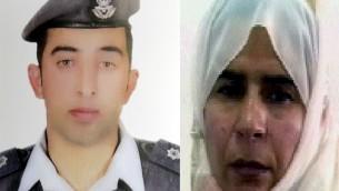 A gauche, une photo du pilote jordanien,  Maaz al-Kassasbeh, et à droite, la djihadiste de l'EI retenue en Jordanie depuis 2006, Sajida al-Rishawi (Crédit : AFP PHOTO / HO)