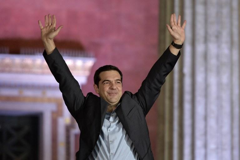 Alexis Tsipras, vainqueur des élections grecques le 25 janvier 2015 (Crédit : LOUISA GOULIAMAKI / AFP)