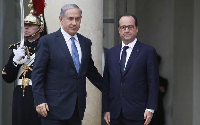 Le président français François Hollande et le Premier ministre Benjamin Netanyahu à l'Elysée, le 11 janvier 2011. (Crédit : Matthieu Alexandre/AFP)