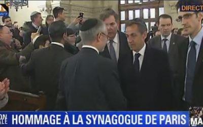 Capture d'écran Nicolas Sarkozy à la synagogue de la Victoire - 11 janvier 2015 (Crédit : BFMTV)