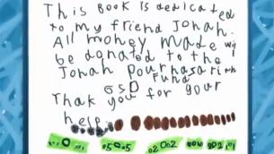 Extrait du livre écrit par Dylan Siegel pour aider à lutter contre la maladie GSD de son ammi Jonah (Crédit : capture d'écran YouTube)