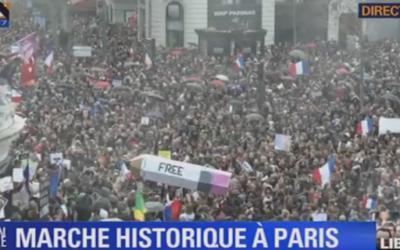 Capture d'écran de la Place de la République - 11 janvier 2015 (crédit : BFMTV)