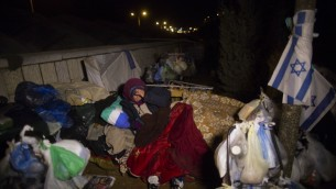 .Sans-abris vivant dans les rues de Jérusalem (Crédit : Flash 90)
