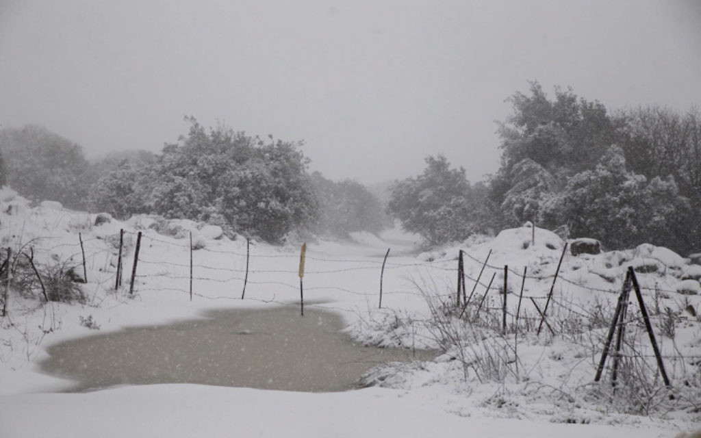 Paysages couverts de neige dans le plateau du Golan, le nord d'Israël - 7 janvier 2015. (Crédit : Basal Awidat / FLASH90)