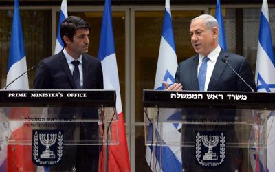 Patrick Maisonnave et Benjamin Netanyahu - 9 janvier 2015 (Crédit : Flash 90)