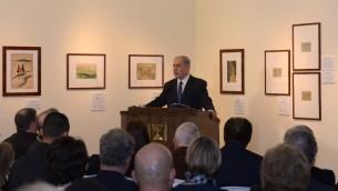Benjamin Netanyahu au mémorial de Yad Vashem - 27 janvier 2015 (Crédit : Haim Zach/GPO)