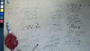 Les signatures sur la Déclaration d'Indépendance (Crédit : Ilan Ben Zion / Times ofl Israël)