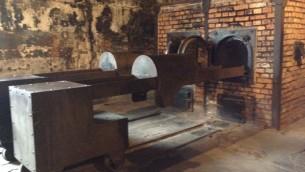 Un crematorium au musée d'Auschwitz le 28 janvier 2015. (Crédit : Amanda Borschel-Dan/The Times of Israel)