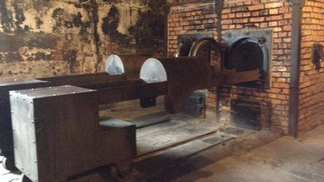 Un crematorium au musée d'Auschwitz, le 28 janvier 2015. (Crédit : Amanda Borschel-Dan/The Times of Israel)