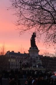 La place de la république - 11 janvier 2015 (crédit : Cindy Harb/Times of Israë¬)