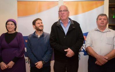 Les membres du parti Tekumah de gauche à droite, La députée Orit Strock, Bezalel Smotrich, le Ministre du Logement et de la Construction Uri Ariel et le député Zvulun Kalfa le 1 janver 2015 (Crédit : Yonathan Sindel/Flash90)