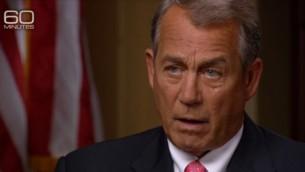 Le président de la Chambre des Représentants, John Boehner à l'émission '60 Minutes' le 25 janvier sur la chaîne CBS (Crédit : Capture d'écran CBS)