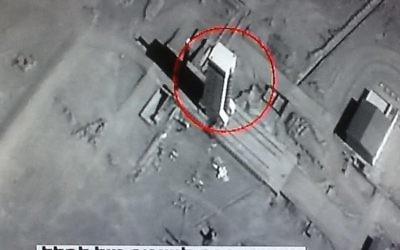 Une image satellite diffusée par la Deuxième chaîne le 21 Janvier 2015 montre un missile à longue portée iranien sur une rampe de lancement en dehors de Téhéran. (Crédit : capture d'écran de la Deuxième chaîne)