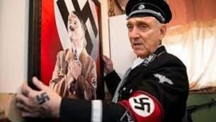 Photomontage d'Yitzhak Aharonovitch en nazi (Crédit : capture d'écran Facebook)