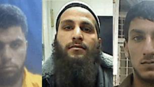 Les suspects accusés d'appartenir à une cellule de l'Etat islamique en Cisjordanie : Ahmmad Shehadah (gauche), Qusai Meswadeh (centre) and Muhammad Zerrue. (Crédit : Shin Bet press release)