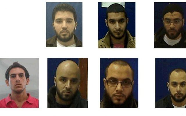Les 7 citoyens israéliens soupçonnés d'appartenance à une cellule de l'Etat islamique. En haut à droite: Adnan Ala a-Din, alah Abu Salah, Fadi Bashir, Khaled abu Salah, Muhammad Abu Salah, Husam Marisat, et Karim Abou Salah (Crédit : Shin Bet)