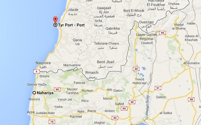 Capture d'écran de Google Maps montrant la ville de Tyr au Liban