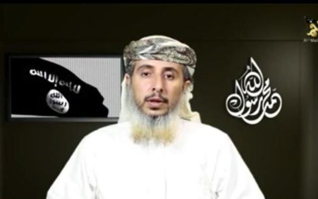 Le chef d'Al-Qaïda dans la péninsule arabique Nasr al-Ansi dans un message enregistré diffusé le 14 janvier, 2015. (Capture d'écran: YouTube)