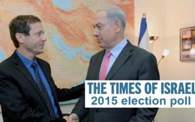 Le Premier ministre Benjamin Netanyahu et le leader du Camp sioniste, Isaac Herzog (Crédit : Flash 90)