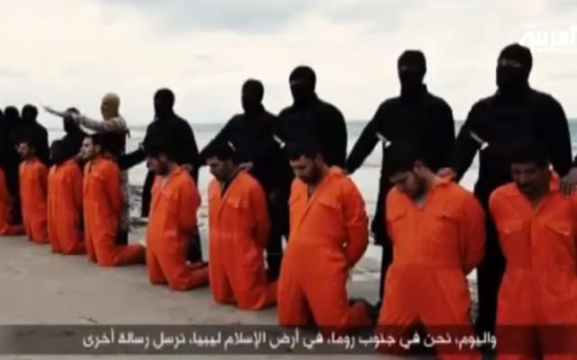 Capture d'écran des chrétiens coptes décapités par l'EI (Crédit : YouTube)