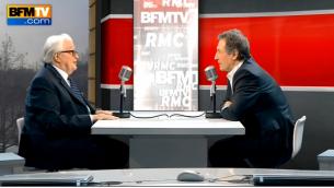 Capture d'écran de l'émission de Roland Dumas sur BFMTV (Crédit : capture d'écran DailyMotion)