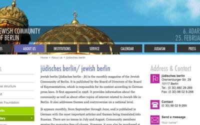 Capture d'écran de la page d'accueil du site du Jüdisches Berlin (Crédit : autorisation)
