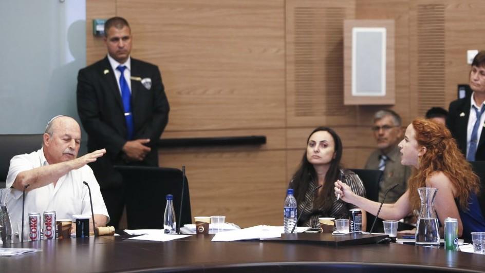 Stav Shaffir s'opposant au président de la Commission des Finances de la Knesset Nissan Slomiansky (Crédit : Flash90)