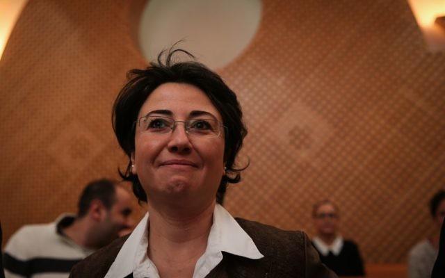 La députée arabe Hanin Zoabi lors de son audience à la Cour suprême à Jérusalem le 9 décembre 2014 (Crédit : Hadas Parush/Flash90)
