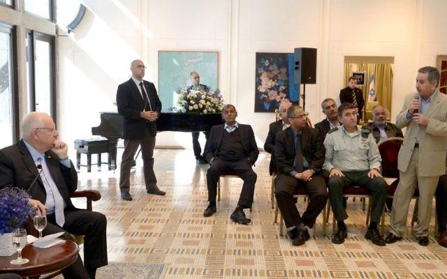 Rencontre entre le président Reuven Rivlin et les dirigeants arabes le 5 février 2015 à la résidence présidentielle (Crédit : MARK NEYMAN/GPO)